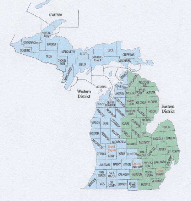 Map of Michigan's Federal Districts